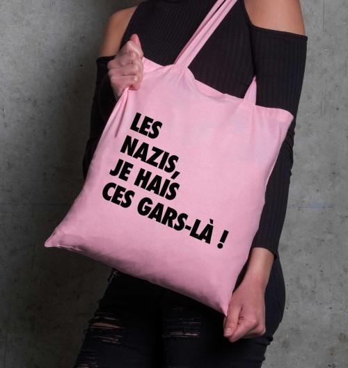 Tote Bag Les Nazis Je Hais Ces Gars-Là de couleur Rose