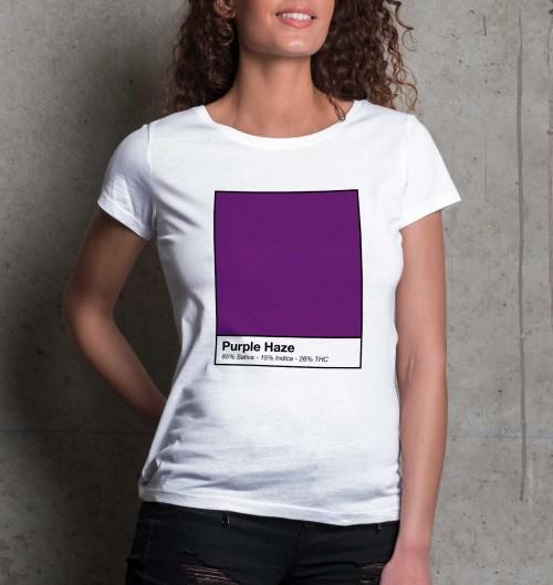 T-shirt pour Femme Femme Purple Haze de couleur Blanc