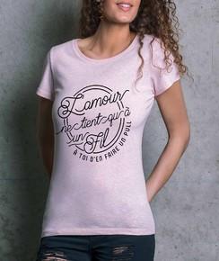 T-shirt à col rond Femme Amour à un Fil par Draguons