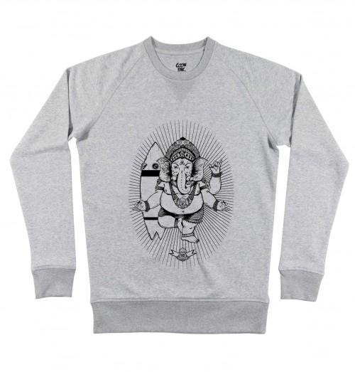 Sweat pour Homme Ganesh de couleur Gris chiné