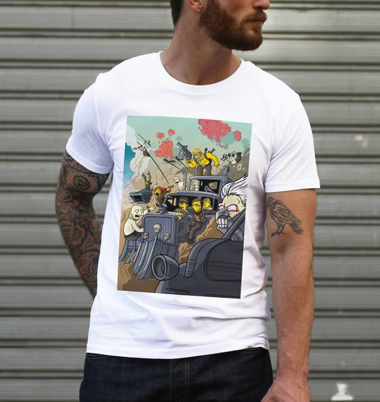 T-shirt pour Homme Mad Max Simpsonized de couleur Blanc