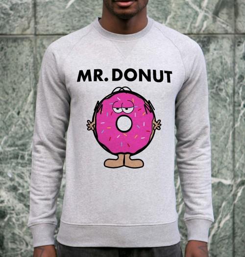 Sweat pour Homme Mister Donut de couleur Gris chiné