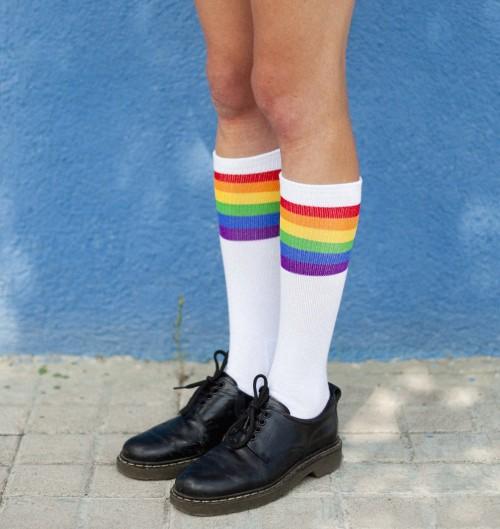Chaussettes Rainbow Pride de couleur Blanc