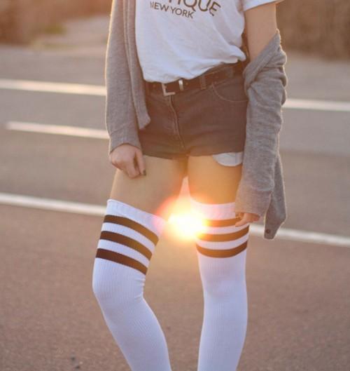 Chaussettes Ultra Hautes Old School pour Femme de couleur Blanc