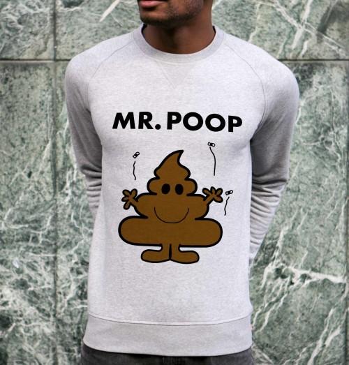Sweat pour Homme Mister Poop de couleur Gris chiné