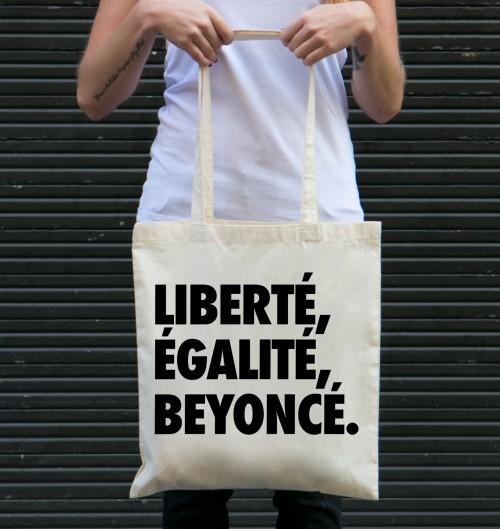 Tote Bag Liberté Egalité Beyoncé de couleur Crème