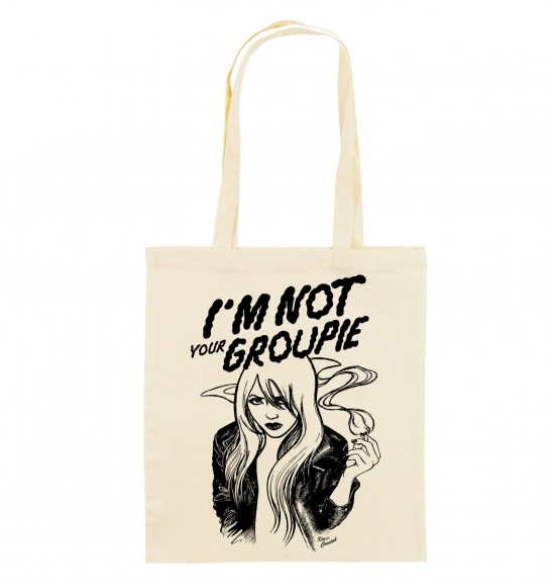 Tote Bag Not Your Groupie de couleur Crème