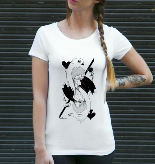 T-shirt pour Femme Card Girl de couleur Blanc