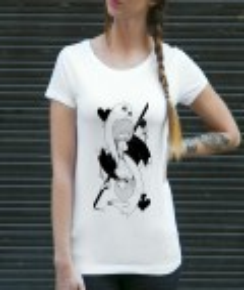 T-shirt à col rond Card Girl de la marque Coontak