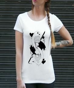 T-shirt à col rond Card Girl par Coontak