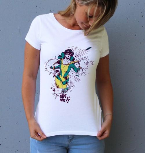 T-shirt pour Femme Supawoman de couleur Blanc
