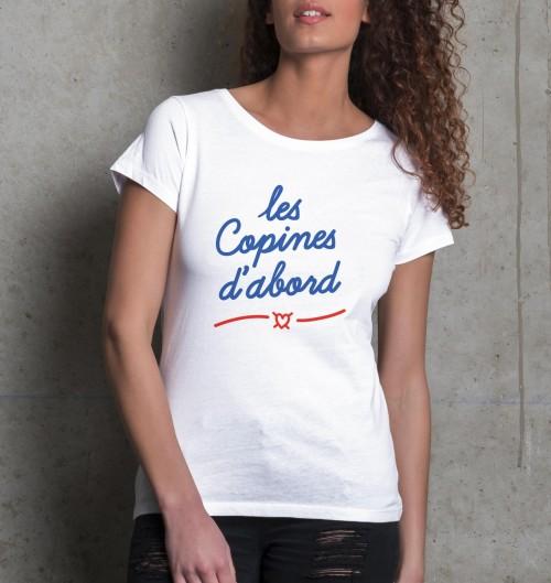 T-shirt pour Femme Les Copines D'Abord de couleur Blanc