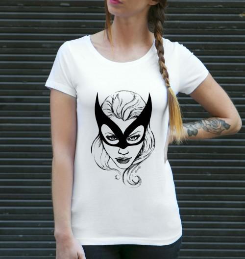 T-shirt pour Femme Catwoman de couleur Blanc