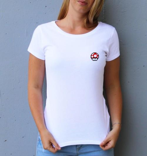 T-shirt pour Femme Femme Pixel Champignon de couleur Blanc