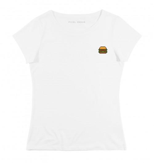 T-shirt pour Femme Femme Cheeseburger de couleur Blanc