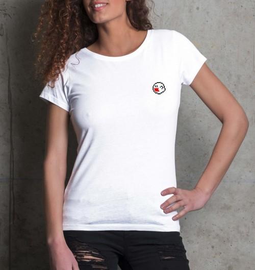 T-shirt pour Femme Femme Pixel Boo de couleur Blanc