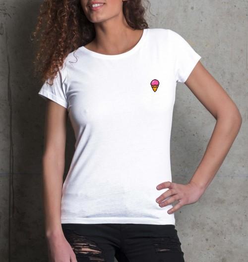 T-shirt pour Femme Femme Pixel Glace de couleur Blanc