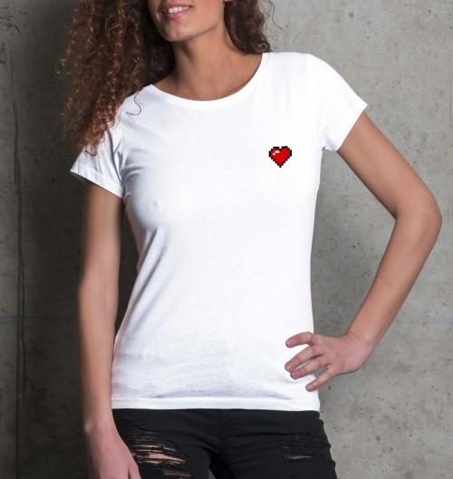 T-shirt pour Femme Femme Pixel Coeur de couleur Blanc