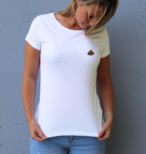 T-shirt pour Femme Femme Pixel Poop de couleur Blanc