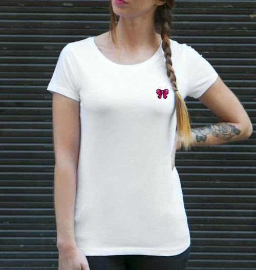 T-shirt pour Femme Femme Pixel Noeud Rose de couleur Blanc