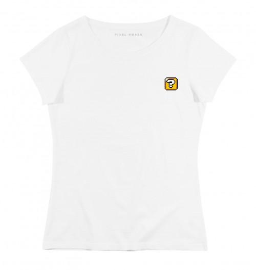 T-shirt pour Femme Femme Pixel Cube Mystère de couleur Blanc