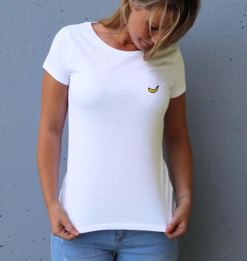 T-shirt pour Femme Femme Pixel Banane de couleur Blanc