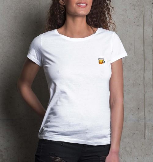 T-shirt pour Femme Femme Pixel Bière de couleur Blanc