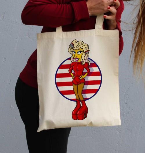 Tote Bag Gaga Simpsonized de couleur Crème