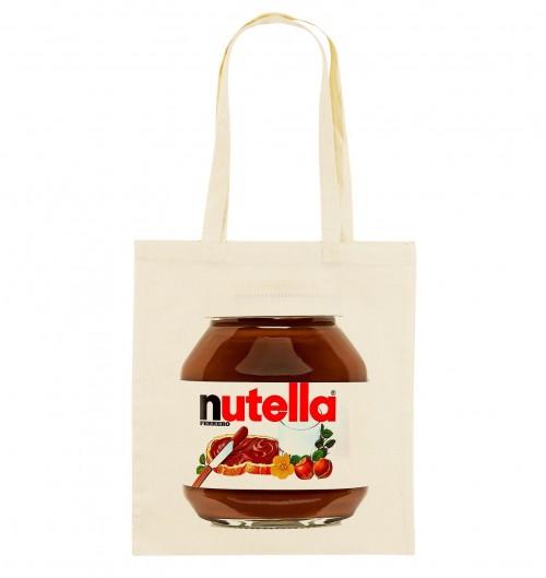 Tote Bag Nutella de couleur Crème