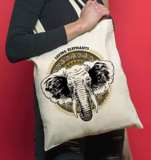 Tote Bag Elephants de couleur Crème