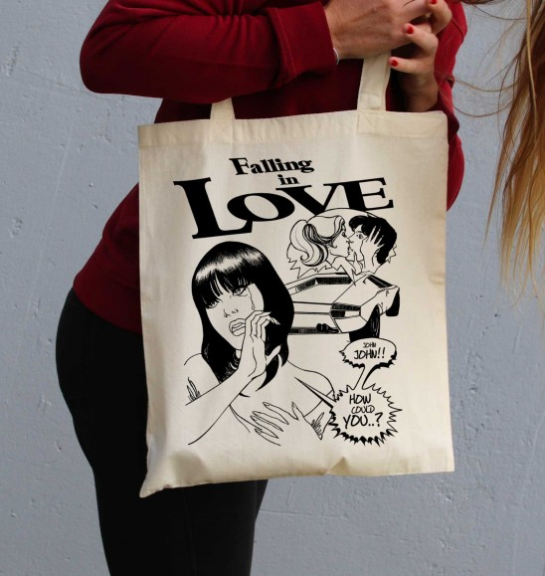 Tote Bag Falling in Love de couleur Crème