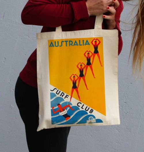 Tote Bag Australia Surf Club de couleur Crème