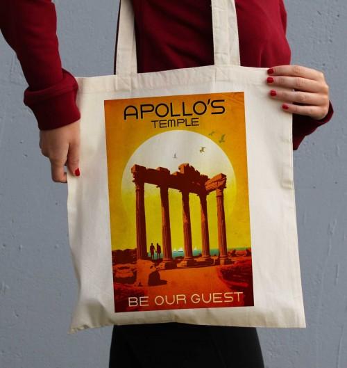 Tote Bag Temple d'Apollon de couleur Crème