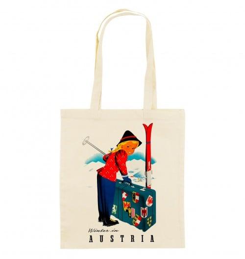 Tote Bag Winter in Austria de couleur Crème