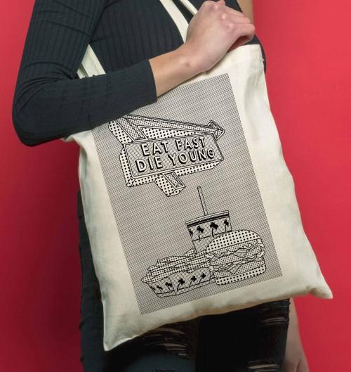 Tote Bag Eat Fast de couleur Crème