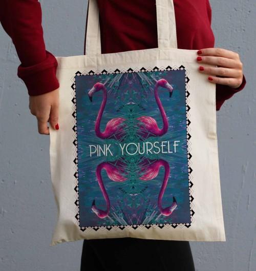 Tote Bag Pink Yourself de couleur Crème