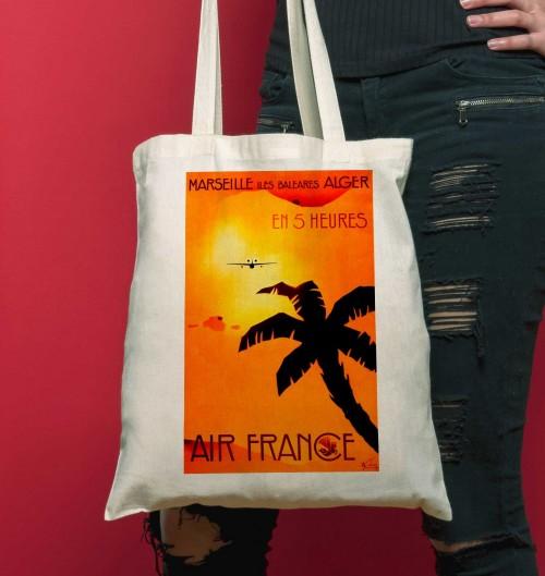 Tote Bag Voyage A Alger de couleur Crème