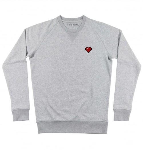 Sweat pour Homme Pixel Coeur de couleur Gris chiné