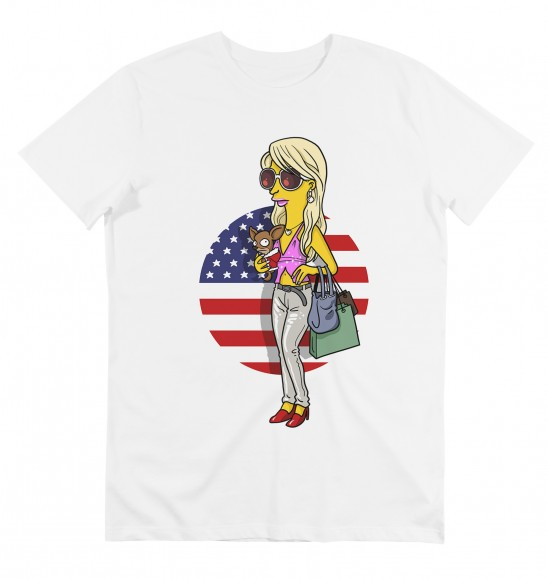 T-shirt pour Homme Paris Simpsonized de couleur Blanc