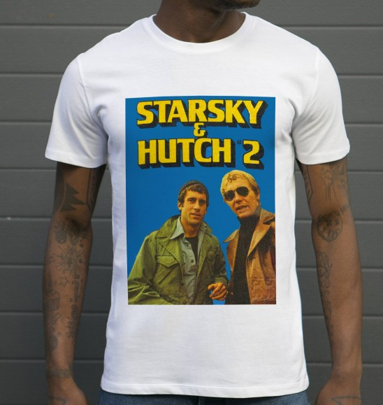T-shirt pour Homme David Starsky & Kenneth Hutch de couleur Blanc