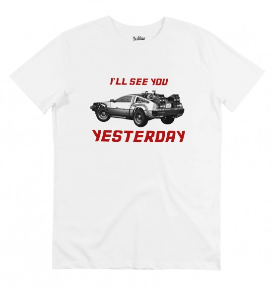 T-shirt pour Homme See You Yesterday de couleur Blanc
