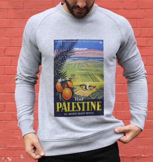 Sweat pour Homme Palestine Oranges de couleur Gris chiné