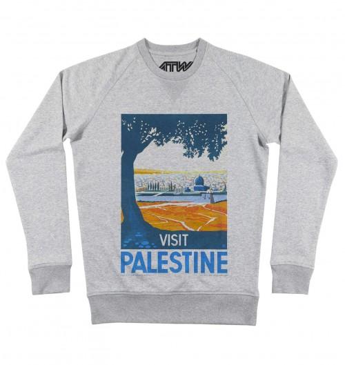 Sweat pour Homme Visit Palestine de couleur Gris chiné