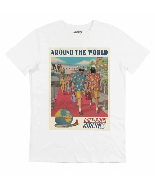 T-shirt pour Homme Daft Punk Airlines de couleur Blanc