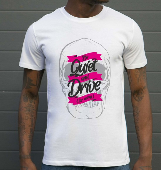 T-shirt pour Homme Be Quiet And Drive de couleur Blanc