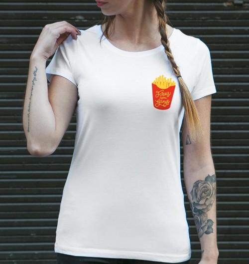 T-shirt pour Femme Fries Before Guys de couleur Blanc