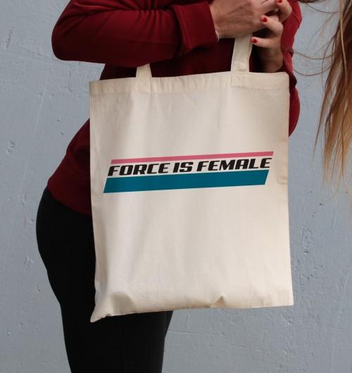Tote Bag pour Femme Force Is Female de couleur Crème