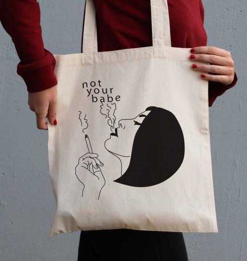 Tote Bag pour Femme Not Your Babe de couleur Crème