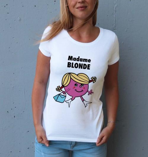 T-shirt pour Femme Madame Blonde de couleur Blanc