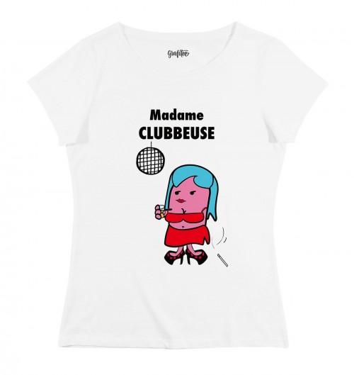 T-shirt pour Femme Madame Clubbeuse de couleur Blanc